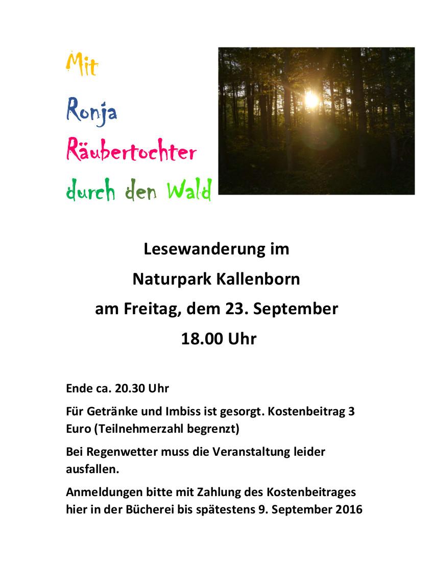 Herbst-Lesewanderung am 23. September im Naturpark Kallenborn